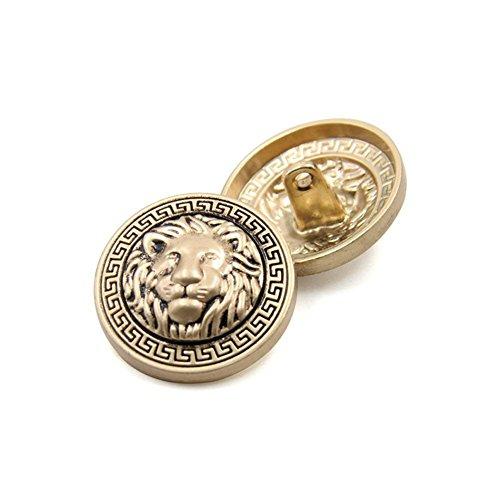 (10PCS Clothes Buttons - Fashion Lion Head Sewing Button Round Shaped Metal Button Set for Men Women Blazer, Coat, Uniform, Shirt, Suit and Jacket (Gold, 25mm))