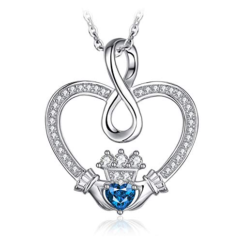 JewelryPalace Love Symbols Infinity Claddagh Heart 0.3ct Genuine Sky Blue Topaz Pendant Necklace 18 Inches Box Chain 925 Sterling Silver ()