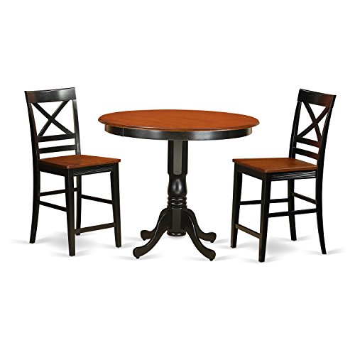 East West Furniture TRQU3-BLK-W 3 Piece Pub Table and 2 Bar Stools with Backs Set