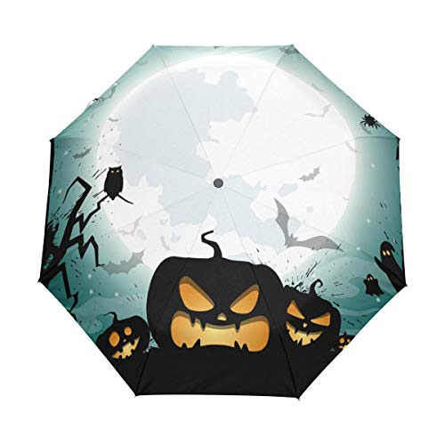 (Top Carpenter Halloween Night Poster Anti UV Windproof Travel Umbrella Parasol Auto)