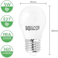 Aigostar - Bombilla LED A5 G45, E27, 5 W equivalente a 40 W, 400lm, Luz calida 3000K, no regulable - 5 unidades [Clase de eficiencia energética A+]