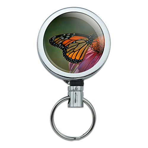 Monarch Butterfly and Coneflower Heavy Duty Metal Retractable Reel ID Badge Key Card Tag Holder with Belt Clip - Monarch Metal Tags