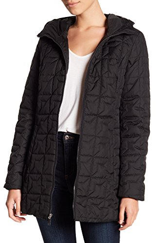 Quilted Coat Laundry (Laundry by Shelli Segal Soft Tech Quilt Hooded Coat Jacket Black (M))