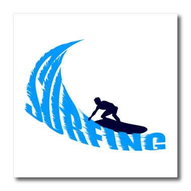 Surfer Photograph - 3dRose Alexis Design - Beach, Sea, Surf - Man, male surfer, blue wave, text surfing, white background - 6x6 Iron on Heat Transfer for White Material (ht_271763_2)