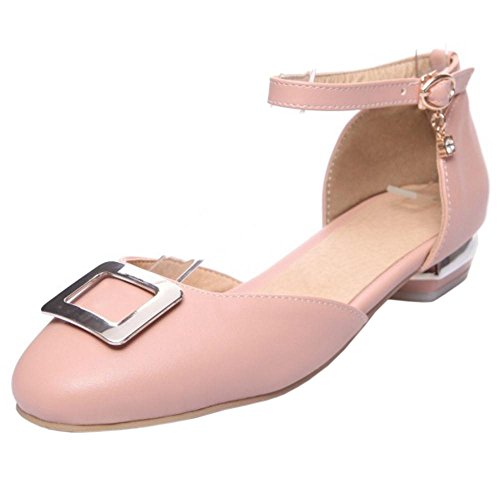 RAZAMAZA Zapatos 46 Tacon de Sandalias Moda Mujer Pink Bajo r5Bqr
