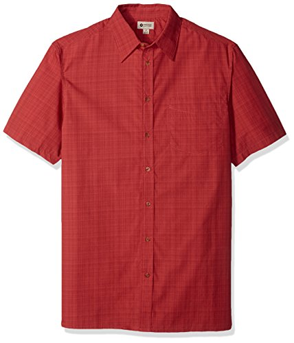 Haggar Men's Big and Tall Short Sleeve Weekender Woven Shirt, Tangy Red, 3X (Clothing Mens)