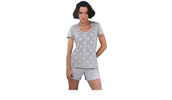 Massana - Pijama Mujer Massana Manga Corta Primavera Verano abierto con botones: Amazon.es: Ropa y accesorios