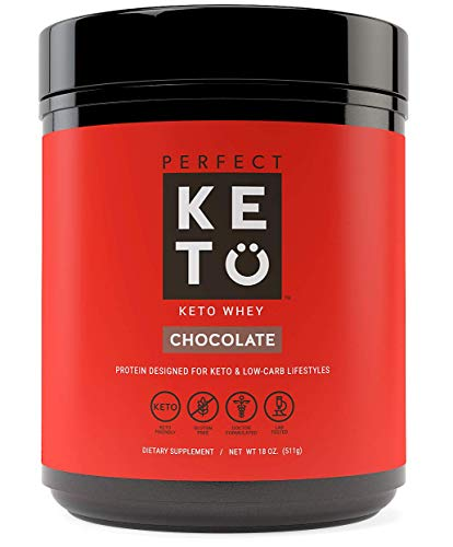 Perfect Keto Pure Whey Protein Powder Isolate | Delicious 100% Grass Fed Whey | No Artificials, Gluten Free, Soy Free, Non-GMO (Chocolate)