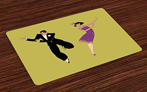 Lunarable Dance Place Mats Set of 4, Happy Young Couple Dressed in 1920s Fashion Dancing The Charleston, Washable Fabric Placemats for Dining Room Kitchen Table Decor, Pistachio Green Violet Black -