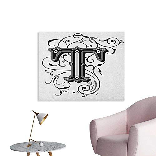 Anzhutwelve Letter T Poster Wall Decor Symmetrical Uppercase Letter in Renaissance Art Style Ornamental Monochrome Wall Poster Black Grey White W36 xL24 (Lana Del Rey Tv In Black & White)