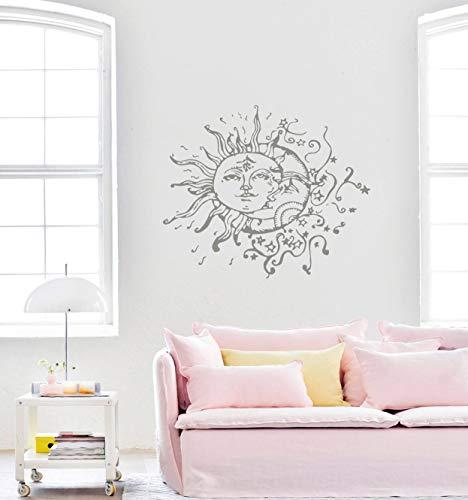 Moon Wall Decal Vinyl Sticker Decals Sun and Moon Crescent Dual Ethnic Stars Night Symbol Sunshine Home Decor Boho Bohemian Bedroom Art ()