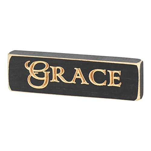 Dicksons Grace Cutout Design Antiqued Black 6 x 2 Wood Tabletop Plaque Decoration ()