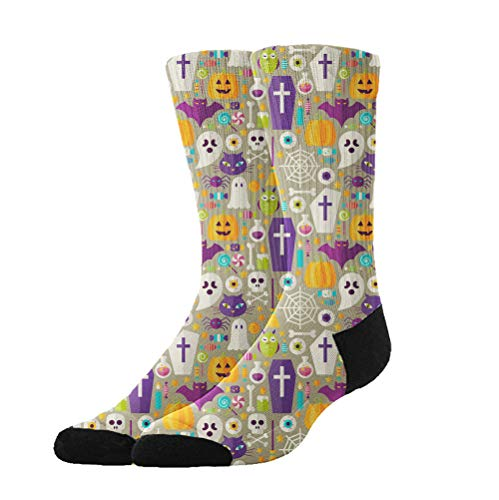 KYWYN Novelty Fashion Happy Halloween Party 3D Printed Athletic Socks Extra Long Socks Knee High Socks for Men Women Boys Girls Outdoor Activities -