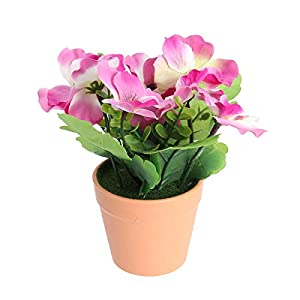 Vosarea Artificial Flower Plastic Pot Pansy Flower for Home Balcony Garden Decor (Purple) 75
