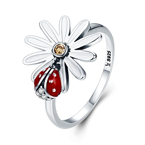 BAMOER 925 Sterling Silver Insect Love Sunflowers Ring for Women Teen Girls Birthday Gifts (6) (Flower Ring Enamel)