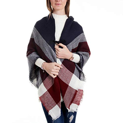 SSTQSAA Women Capes&Ponchos Cashmere-Like Plaid Scarf Shawl Pashmina Warm Scarves with Buttons