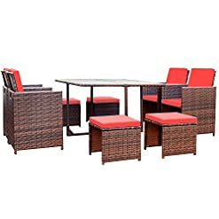 Garden and Outdoor Devoko 9 Pieces Patio Dining Sets Outdoor Space Saving Rattan Chairs with Glass Table Patio Furniture Sets Cushioned…