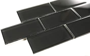 Black 3 pieces = 1 Squae Feet, Price for Square Feet 4x12 Black Glass Tile