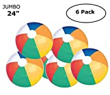 Fun Land 24 inch Pack of 6 Jumbo Colorful Beach Balls Rainbow Color Beach Balls 24'' Inch