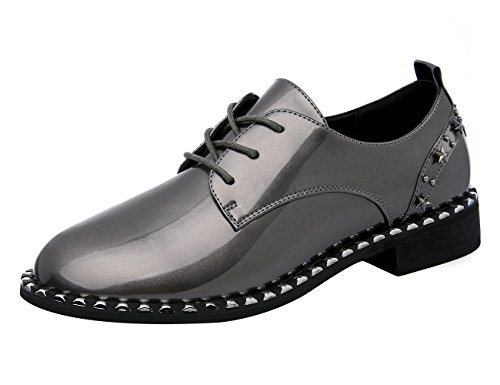 MOLECOLE Womens Oxfords Shoes Patent Leather Pearls Lace Up Square Toe Flats With Rivet Side Edge Gray Uge84EAbJO