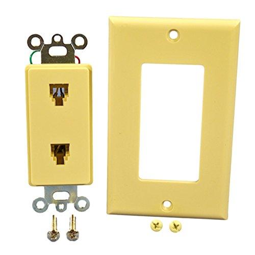 Leviton C2447-I Decora Flush Mount Duplex Phone Jack Wall plate, Color Ivory
