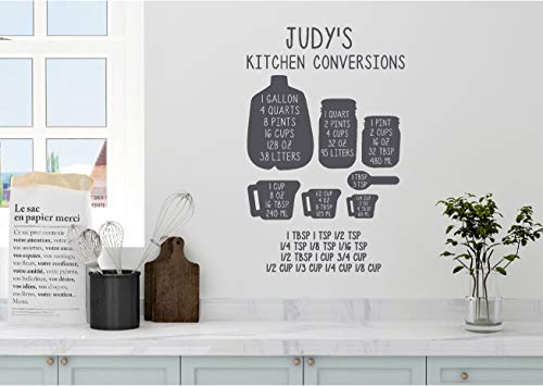 Measure Stickers (Personalized Custom Name Kitchen Conversion Measuring Cup Chart Wall Decal Sticker Customized Choose Size Color Vinyl Home Baking Cooking)