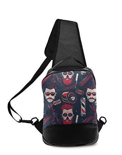 Casual Durable Polyester Sling Bag Vintage Barber Shop Tools Chest Backpack for Men Boys Crossbody Shoulder Chest Day Pack Outdoor Travel Camping Fashion Daypack