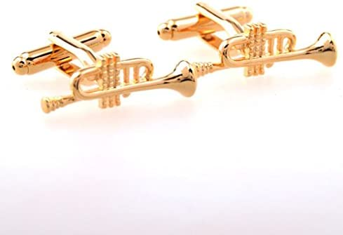Utoy Golden Trumpet Cufflinks for Mens French Shirt Party for Jazz Music Orchestra Band Symphony Tuba Fans