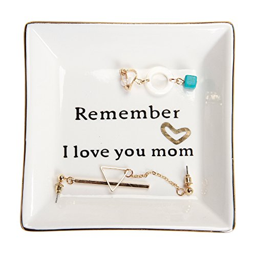HomeSmile Ceramic Ring Dish Decorative Trinket Plate -Remember I Love You Mom