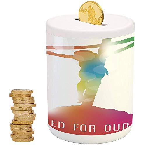 iPrint Quote,Piggy Bank Coin Bank Money Bank,Christmas Birthday Gifts for Kids Boys Girls Home Decoration,Abstract on The Cross Scenery with Message of Inspiration Colorful Dreamy -