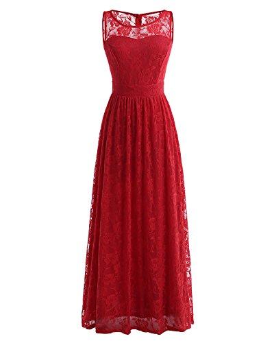 soire de Femme Robe Wedtrend Rouge Robe de en Manche Dentelle d'honneur Cocktail Demoiselle sans Longue lgante 4tAwqY
