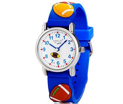 Vavna New Kids' 3D Rugby Slicone Analog Wrist Watch Boys Girls Christmas Gift + Free Battery