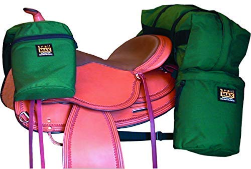 TrailMax Saddle-Bag System, Medium-Sized Overnighter Combo Pack with Horn Bags, Detachable Cantle Bag & Saddlebags in Green