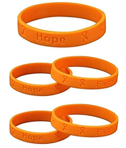 5 Adult Multiple Sclerosis Awareness Orange Silicone Bracelets - Adult Size Show Your Support 5 Bracelets - Made of 100% high quality silicone]()