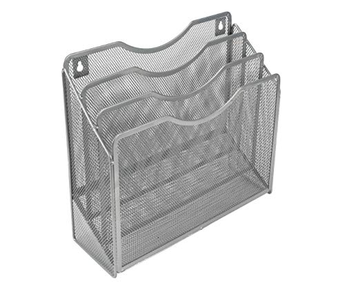 EasyPAG Mesh Desktop/Wall Mounted File Holder Organizer Literature Rack Silver
