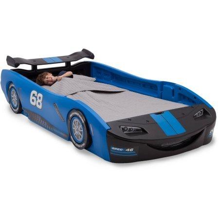 Delta Children Turbo Race Car Twin Bed | 47.5''W x 22.5''H x 94''D (Blue)