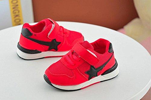 JIANGFU Jungen und Mädchen/Mesh/Weicher Boden/Turnschuhe, Kleinkind Kinder Sport Laufschuhe Babyschuhe Jungen Mädchen Sterne Mesh Schuhe Turnschuhe Red