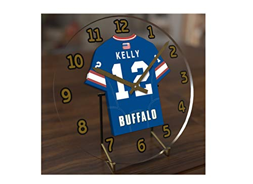 FanPlastic Jim Kelly 12 Buffalo Bills Desktop Clock - National Football League Legends Edition !!