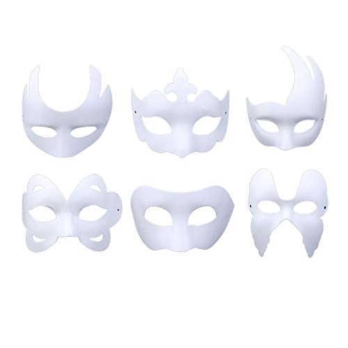 White Masquerade Mask (White Masks, Coxeer 6PCS DIY Unpainted Masquerade Masks Plain Halloween Half Face Masks)