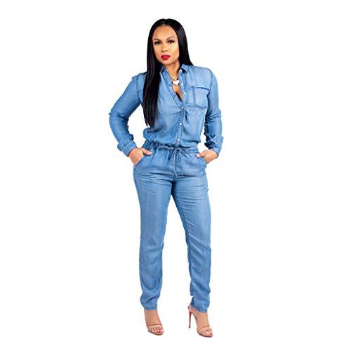 (Women Long Sleeve Denim Jumpsuit Sexy Elegant Club Plus Size Button Down Elastic Waist Skinny Jeans Romper Blus L)
