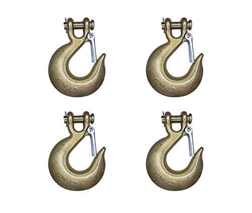"Mega Cargo Control 4 - Pack 1/2"" - WLL 11300 LBS G70 Tow Chain Clevis Grab Hook with Latch Forged Grade 70 for Trailer Truck Transport Tow Chain Hook"