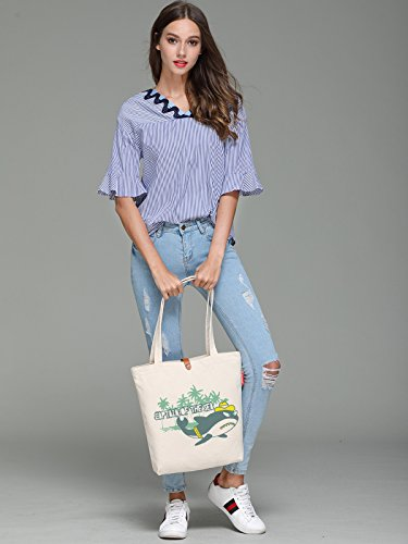 So'each Women's Captain Shark Graphic Top Handle Canvas Tote Shoulder Bag