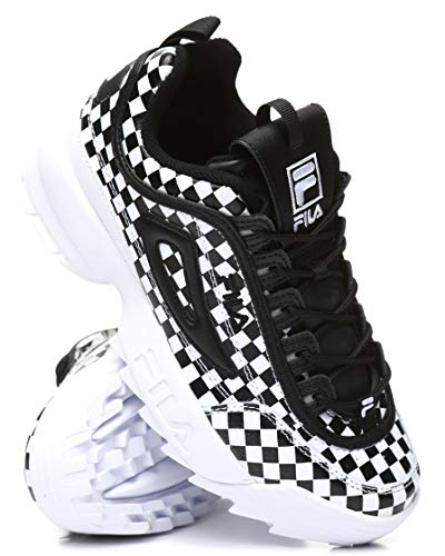 Fila Women's Disruptor II Sneaker (5.5, Black Checkered) Black Fila Womens Shoes