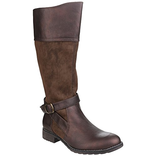 Knee Divaz Brown Womens High Up Ladies Contrast Boots Garbo Zip vY6vqTr
