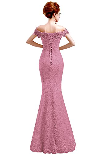 Off Dress Formal pink Evening Lace Shoulder Red Bridesmaid Babyonline Babyonlinedress Mermaid Dusty 7wA5Bnq