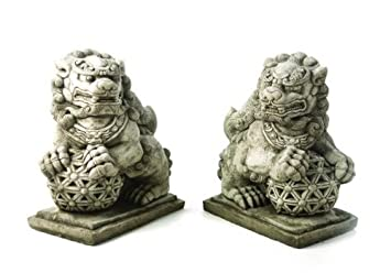 Merveilleux Stunning Pair Of Large Solid Cast Foo Dogs Garden Statue Ornaments