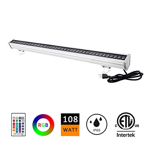1 Wall Light Washer (H-TEK 108W RGBW LED Wall Washer Light, Color Changing, Linear Strip Light with RF Remote Controller, 120V, IP65 Waterproof, 3.2ft/40inches Length, LED RGB Light Birthday Party, Carnival (Single Pack))