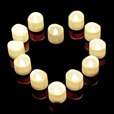 Flameless Candles,12 White Bright Flickering Bulb Battery Operated Realistic Decor Unscented LED Tea Light Candle,Timer LED Mars Flameless Candles,Fake Candles,Tealights For Halloween, Christmas
