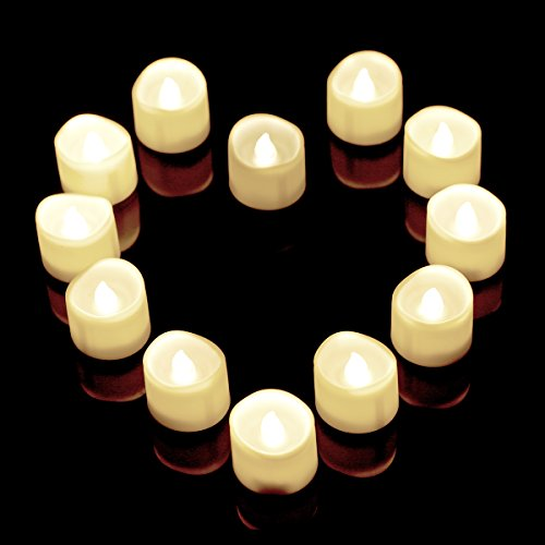 Flameless Candles,12 White Bright Flickering Bulb Battery Operated Realistic Decor Unscented LED Tea Light Candle,Timer LED Mars Flameless Candles,Fake Candles,Tealights For Halloween, Christmas (Tealight Flickering Timer compare prices)