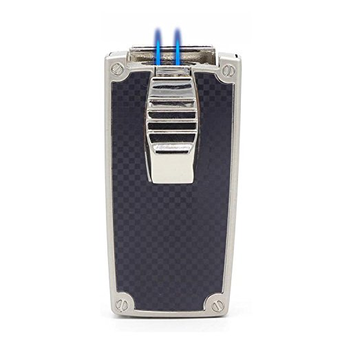 CiTree Cigar Lighter, 2 Jet Flame Butane Cigarette Torch Lighter with Cigar Punch (Black) ()